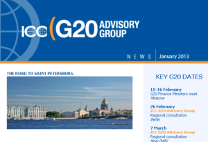 The newsletter gives key dates in the lead up to the G20 Summit and G20 Business Summitclose