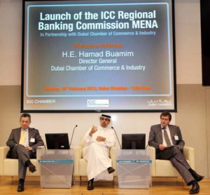 From left: Kah Chye Tan, Hamad Buamim and Thierry Senechal at the launch of the ICC Regional Banking Commission MENA Regional Banking Commission