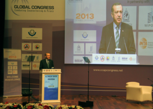 Prime Minister of Turkey Recep Tayyip Erdogan speaks at the Seventh Global Congress in Istanbul.