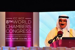 Remy Rowhani speaks at the ICC World Trade Agenda Summit.
