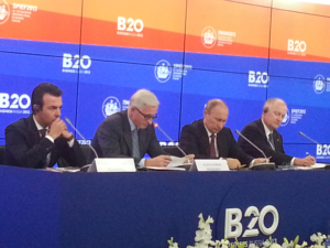 Mr Putin took part in a B20 meeting with business leaders