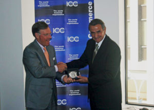 ICC Chairman-elect grants Mr Manfredi (right) the Merchants of Peace Medal