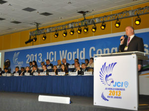 Anthony Parkes, Director of ICC World Chambers Federation, speaks during the JCI World Congress in Rio de Janeiro