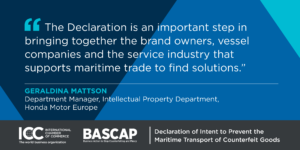 BASCAP declaration maritime shipping fake goods