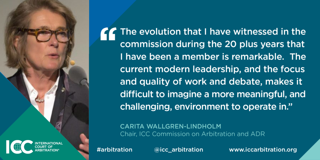 Quote from ICC Commission on Arbitration and ADR Carita Wallgren-Lindholm