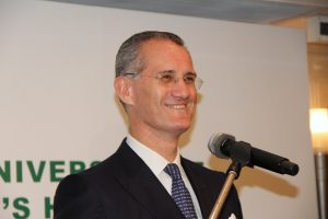 Alexis Mourre speaks at an anniversary event in Singapore